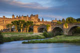 Sunset over Carcassonne and River Aude, Languedoc-Roussillon, France Photographic Print by Brian Jannsen