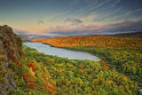 Michigan, Upper Peninsula. Sunset at Lake of the Clouds Photographic Print by Petr Bednarik