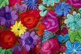 Belize, Placencia. Detail of Traditional Embroidery Floral Textile Fotografisk tryk af Cindy Miller Hopkins
