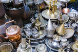 Teapots and Plates for Sale, Souk of the Medina, Marrakech, Morocco Photographic Print by Nico Tondini