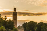 Jemaa El-Fnaa and Minaret of Koutoubia Mosque, Marrakesh, Morocco Photographic Print by Nico Tondini
