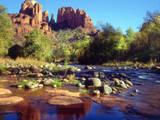 USA, Arizona, Sedona. Cathedral Rock Reflecting in Oak Creek Photographic Print by  Jaynes Gallery