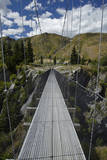 Mountain Bikers on Edgar Suspension Bridge, Otago, New Zealand Photographic Print by David Wall