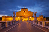 Twilight View across Ponte Sant Angelo, Rome, Lazio, Italy Photographic Print by Brian Jannsen