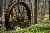 USA, New Jersey, Hunterdon County. Old Waterwheel by Rockaway Creek Photographic Print by Alison Jones