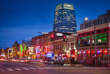 Twilight over Broadway Street in Downtown Nashville, Tennessee, USA Photographic Print by Brian Jannsen