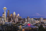 USA, Washington State, Seattle, Downtown and Mt. Rainier at Twilight Photographic Print by Rob Tilley