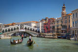 Gondolas Along the Grand Canal at the Rialto Bridge, Venice, Italy Photographic Print by Brian Jannsen