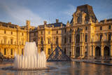 Sunset on the Courtyard of Musee Du Louvre, Paris, France Photographic Print by Brian Jannsen