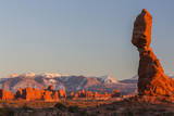 USA, Utah, Arches Balanced Rock and La Sal Mountains at Sunset Photographic Print by Jamie & Judy Wild
