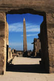 Egypt, Luxor, Great Hypostyle Hall of Karnak and Obelisk of Tutmose Photographic Print by Claudia Adams