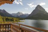 USA, Montana, Glacier Lakeside Balcony at Many Glacier Lodge Photographic Print by Trish Drury