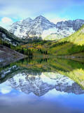 USA, Colorado. Rocky Mountains, Maroon Bells Reflect into Maroon Lake Photographic Print by  Jaynes Gallery