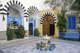Tunisia, Sidi Bou Said. Courtyard of Dar Annabi Photographic Print by Charles Cecil