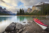Canada, Alberta. Sea Kayak at Spirit Island, Maligne Lake, Jasper Photographic Print by Gary Luhm