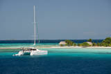 Belize, Wild Orchid Caye. Tourist Catamaran Along the Reef Photographic Print by Cindy Miller Hopkins