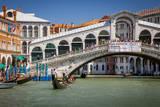 Gondolas Along the Grand Canal at the Rialto Bridge, Venice, Italy Photographic Print by Brian Jannsen
