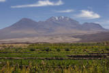 Chile, Atacama Desert, Socaire, Mountains and Fields Photographic Print by Walter Bibikow