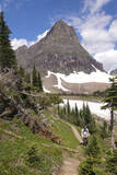 USA, Montana, Glacier Hiker in Logan Pass, Clements Mountain Photographic Print by Trish Drury
