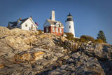 Rock Striations Below Pemaquid Point Lighthouse, Maine, USA Photographic Print by Brian Jannsen