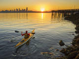 USA, Washington. Kayaker Paddling Sea Kayak on Elliott Bay Photographic Print by Gary Luhm