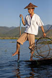 Myanmar, Shan State. Fisherman Rowing with One Leg on Inle Lake Photographic Print by Charles Cecil
