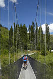 Mountain Bikers Crossing Suspension Bridge, Otago, New Zealand Photographic Print by David Wall