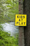 USA, New Jersey, Pottersville, Lamington River. 'Kids at Play' Sign Photographic Print by Alison Jones