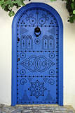 Tunisia, Sidi Bou Said. Blue Decorated Door to Private Home Photographic Print by Charles Cecil
