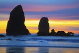 Sunset at Low Tide, Needles, Canon Beach, Oregon Coast Photographic Print by Craig Tuttle