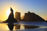Sunset over Rock Formations Along Bandon Beach at Lowtide, Oregon Coast Photographic Print by Craig Tuttle