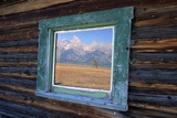 Teton Range Reflected in Window Photographic Print by Darrell Gulin