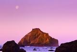 Moon Set , Low Tide, Bandon Beach, Oregon Coast, Pacific Northwest, Pacific Ocean Photographic Print by Craig Tuttle
