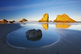 Moon Set over Rock Formations Reflecting in Tide Pools at Low Tide, Bandon Beach Photographic Print by Craig Tuttle