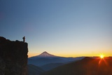 Hiker Watching Sunrise over Mt. Hood, Mt. Hood National Forest, Oregon Photographic Print by Craig Tuttle