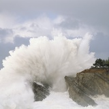 Waves Crashing on Rocky Shore Photographic Print by Craig Tuttle