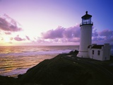 Lighthouse by Beach at Sunset Photographic Print by Craig Tuttle