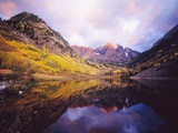 Autumn Trees Encircling Mountain Lake at Dawn Photographic Print by Craig Tuttle