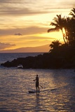 Stand-Up Paddler at Sunset on Maui, Hawaii Photographic Print by Ron Dahlquist