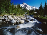 Winding Creek Below Snow-Capped Mountain Photographic Print by Craig Tuttle