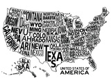 United States of America Stylized Text Map Affiches