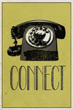 Connect Retro Telephone Player Art Poster Print Print