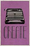 Skap, retro skrivemaskin, kunsttrykk, på engelsk Plakat
