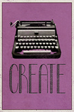 Create Retro Typewriter Player Art Poster Print キャンバスプリント