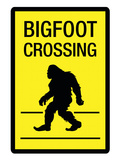 Bigfoot Crossing Sign Art Poster Print Prints