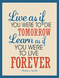 Live As If Learn As If Art Gandhi Quote Poster Print