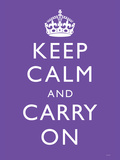Keep Calm and Carry On (Motivational, Purple) Art Poster Print Prints