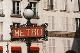 France, Paris, Street Light with Sign Photographic Print by David Barnes