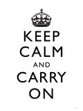 Keep Calm and Carry On (Motivational, White) Art Poster Print Prints