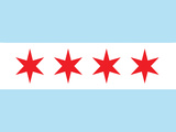 Chicago City Flag Poster Print Kunstdruck